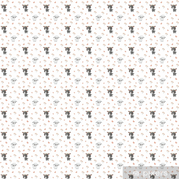 Carta da parati in vinile su misura Vector seamless colorato con l'immagine di animali da fattoria in stile cartone animato. - Risorse Grafiche