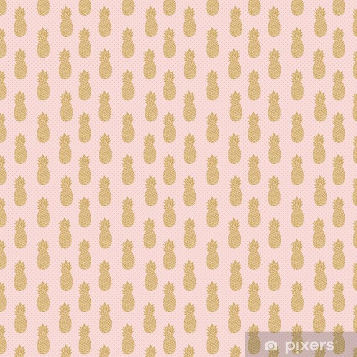 Vinyl behang, op maat gemaakt Naadloze patroon met gouden ananas op polka dot achtergrond. roze en gouden ananaspatroon. zomer tropische achtergrond - Eten