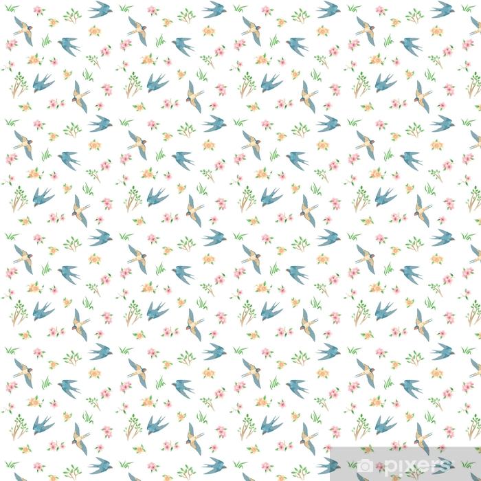 Vinyl behang, op maat gemaakt Naadloos patroon met de lentevogels en bloemen / er zijn sommige vliegende zwaluwen, gras, roze en gele bloemen - Dieren