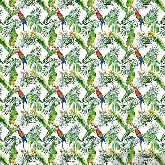 Tapeta na wymiar winylowa Bez szwu akwarela ilustracja tropikalnych liści, gęsta dżungla. papuga ara szkarłatny. kwiat strelitzia reginae. malowane ręcznie. wzór z motywem tropic summertime. liście palmy kokosowej. - Zasoby graficzne