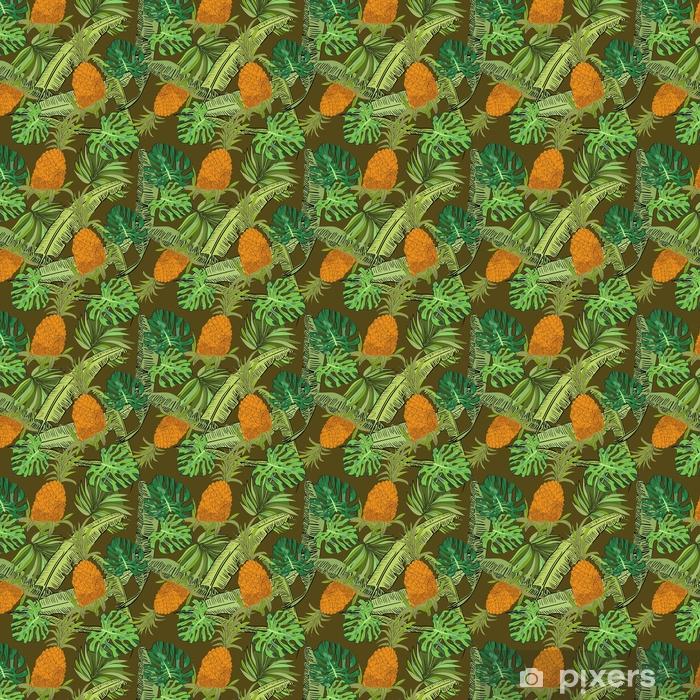 Vinyl behang, op maat gemaakt Vector getekend tropische naadloze patroon op bruine achtergrond met ananas, monstera en bananenbladeren in een schets stijl. exotische collectie. - Grafische Bronnen