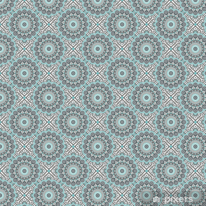 Spesialtilpasset vinyltapet Etnisk floral sømløs mønster med mandalas - Grafiske Ressurser