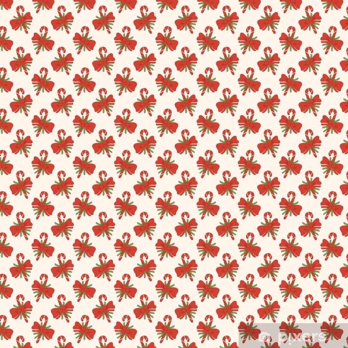 Vintage Red Candy Cane and Bow Christmas Seamless Pattern Vinyl custom-made wallpaper - Culture and Religion