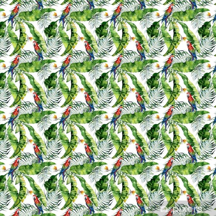 Måttanpassad vinyltapet Sömlös vattenfärg illustration av tropiska löv, tät djungel. scarlet macaw papegoja. strelitzia reginae blomma. handmålad. mönster med tropisk sommartid. kokospalmblad. - Grafiska resurser