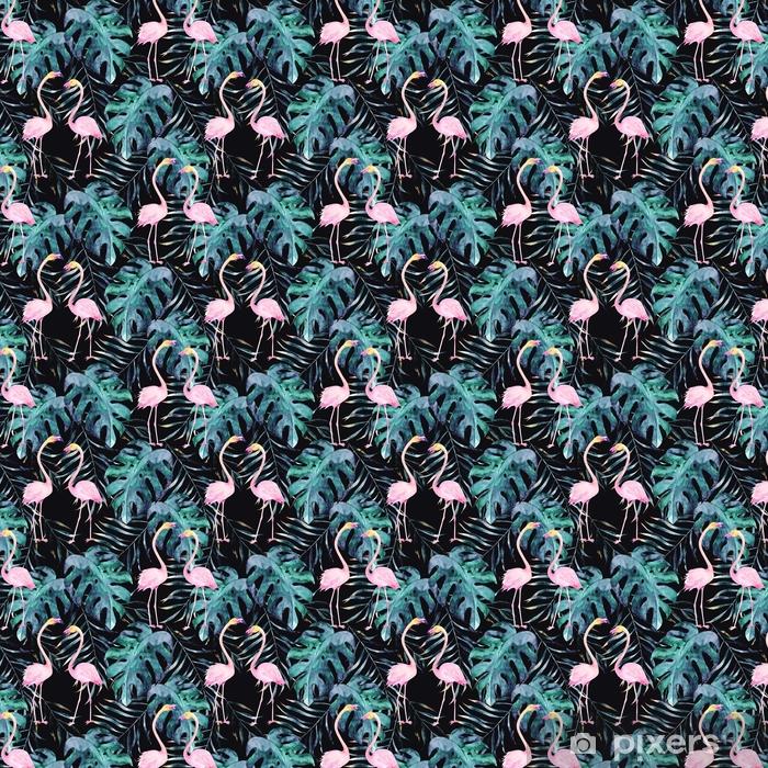Zelfklevend behang, op maat gemaakt Aquarel naadloze patroon. tropische print met flamingo. handgetekende illustratie - Grafische Bronnen