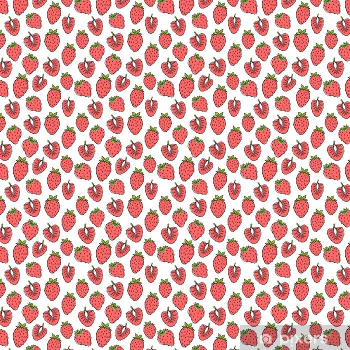 Papier peint vinyle sur mesure Modèle de nature transparente avec croquis de fruits. fond de vecteur rouge avec des fraises. nourriture tropicale. - Nourriture
