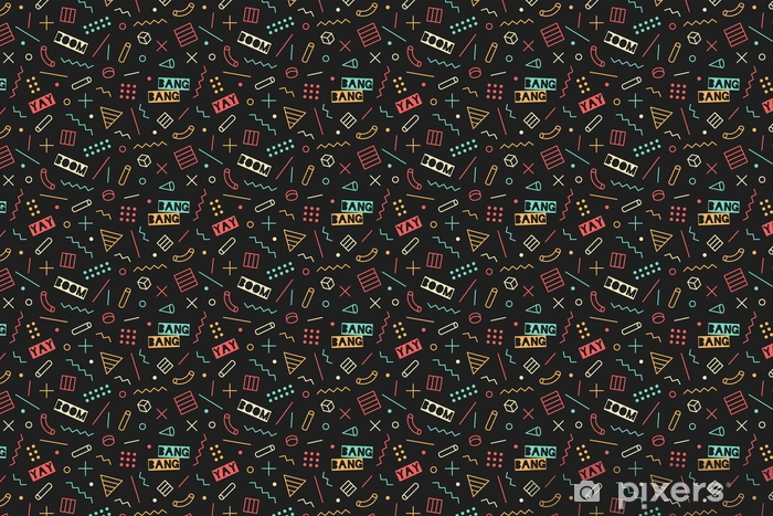 Seamless Graphic Memphis Pattern 80s 90s Trendy Styles On Black Background Colorful Pattern With Different Shapes Objects Design For Wrapping Paper