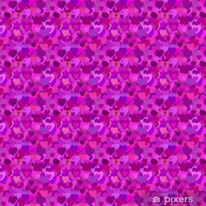 Vinyl behang, op maat gemaakt Herhalende willekeurige Valentijnsdag achtergrondpatroon - vectorillustratie van paarse harten met schaduweffect - Grafische Bronnen