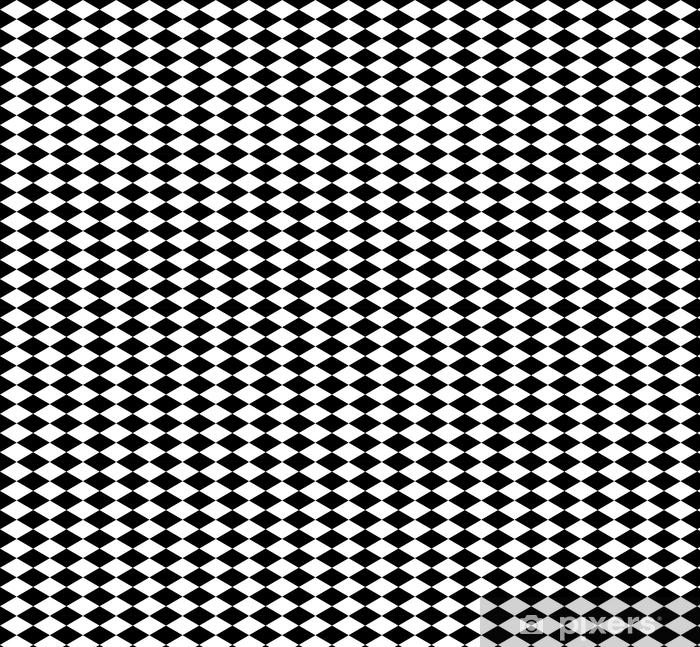 Papier peint vinyle sur mesure Fond d'échecs losange en noir et blanc. fond transparent. illustration vectorielle - Ressources graphiques
