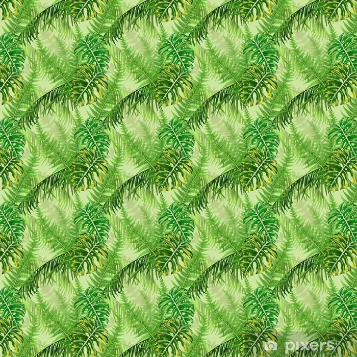 Vinyl behang, op maat gemaakt Naadloze patroon met tropische bladeren en varens - Bloemen en Planten