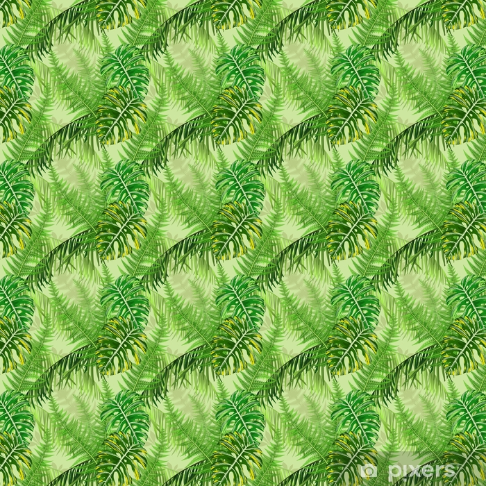 Seamless pattern with tropical leaves and ferns Vinyl custom-made wallpaper - Plants and Flowers