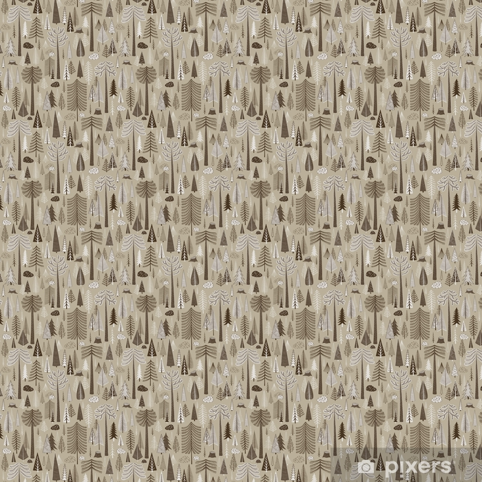 Seamless pattern of coniferous forest Vinyl custom-made wallpaper - Landscapes