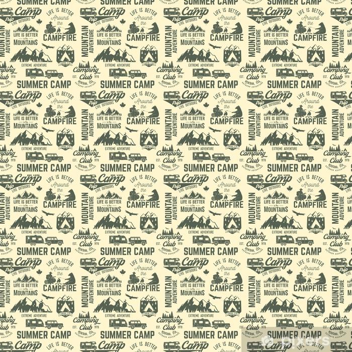 Summer camp seamless pattern or background. Vinyl custom-made wallpaper - Sports