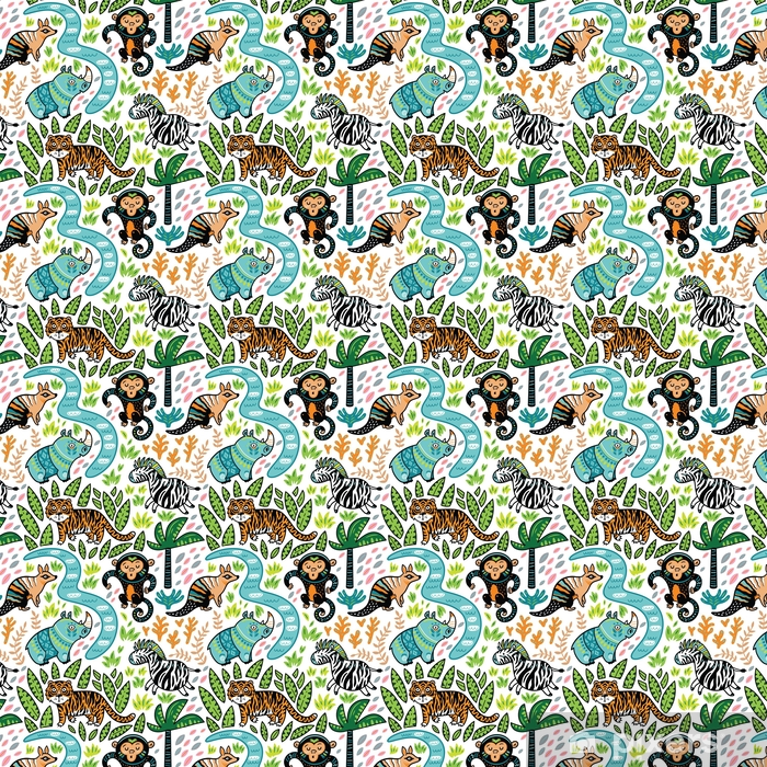 Zelfklevend behang, op maat gemaakt Vector naadloze tropische patroon met decoratieve dierlijke karakters - Grafische Bronnen