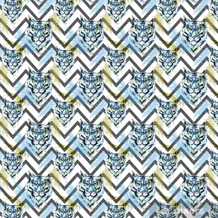 Vinyl behang, op maat gemaakt Aquarel exotische naadloze patroon. tijgers met kleurrijke tropische bladeren op geometrische textuur. Afrikaanse dieren achtergrond. dieren in het wild kunst illustratie. kan worden afgedrukt op t-shirts, posters. - Dieren