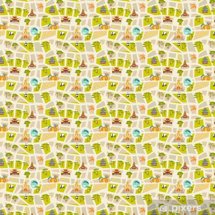 Vinyl behang, op maat gemaakt Abstracte chinese kaart naadloze vector achtergrond. oriëntatiepuntenpictogrammen, tempel, draak, shaolin monnik en bomen. platte cartoon stijl ontwerp - Reizen