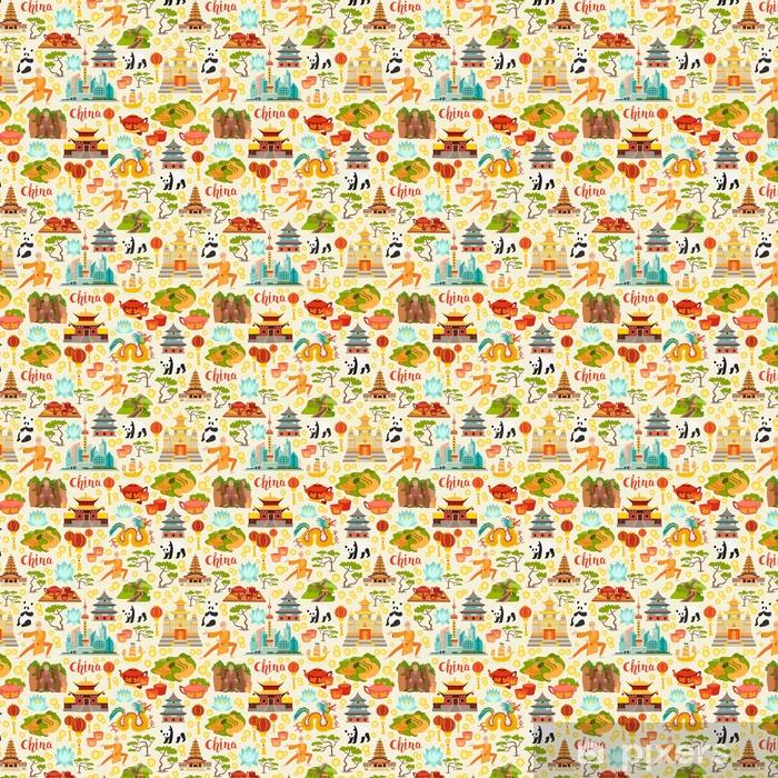 Abstrakcyjna chiny bez szwu wektor wzór dla dzieci / dzieci. tło z ikonami punktów orientacyjnych. elementy chińskiej podróży. płaski styl tekstura