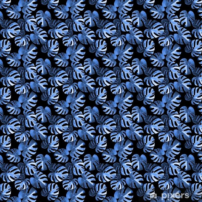 Zelfklevend behang, op maat gemaakt Naadloze bloemmotief met gestileerde aquarel exotische monstera bladeren. blauwe tinten stijl jungle gebladerte op zwarte achtergrond. textiel ontwerp. - Grafische Bronnen