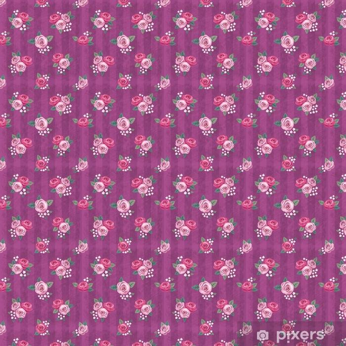 Vinyl behang, op maat gemaakt Naadloos uitstekend romantisch patroon met roze rozen op purpere sjofele achtergrond. retro behangstijl. sjofel chic ontwerp. perfect voor scrapbooking, wenskaarten enz - Grafische Bronnen