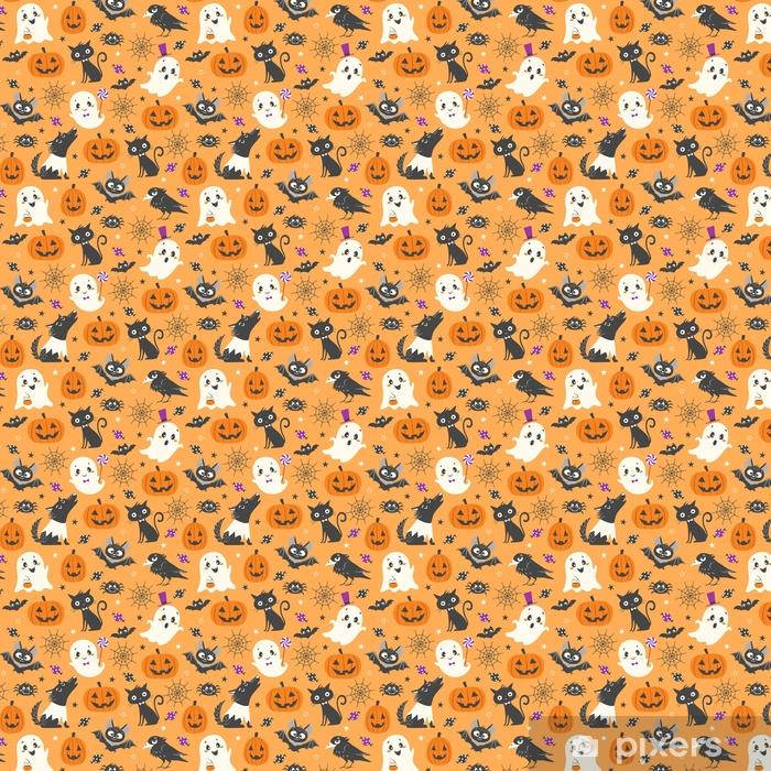 Papier peint vinyle sur mesure Modèle sans couture d'halloween avec citrouilles mignons, fantômes, chat noir, chauves-souris, corbeau, marcheur et bonbons sur fond orange. - Culture et religion