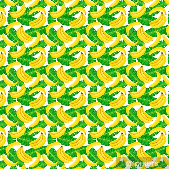 Tapeta na wymiar winylowa Bezszwowych akwareli ilustracji tropikalnych liści, gęste dżungli. Wzór z motywem lato tropików może być używany jako tekstura tła, papier pakowy, tekstylia, projekt tapety. Liści palmowych bananów - Zasoby graficzne