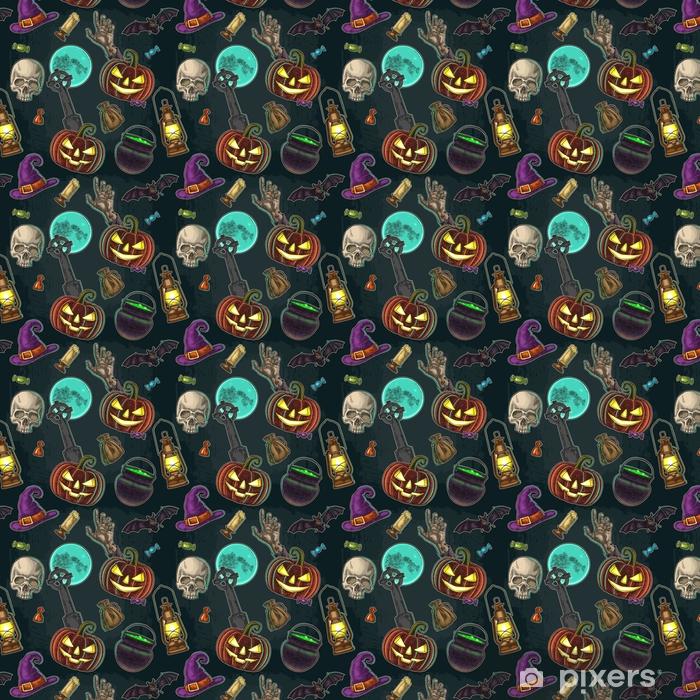 Papier peint vinyle sur mesure Modèle sans couture pour la fête d'halloween. gravure de couleur vintage - Culture et religion