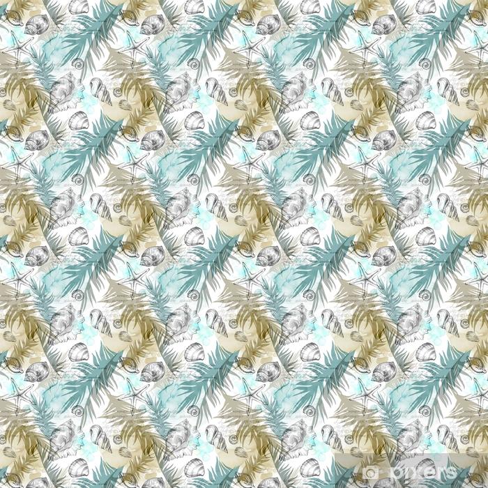 Papel pintado estándar a medida Fondo de fiesta de fiesta de verano, Ilustración de acuarela. patrones sin fisuras con conchas de mar, moluscos y hojas de palma. textura tropical en colores románticos. - Paisajes