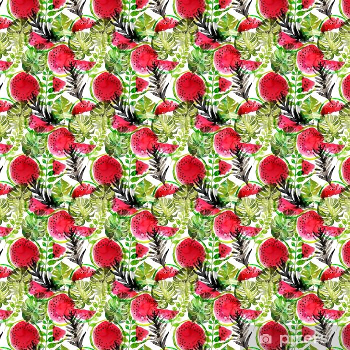 Vinyltapete nach Maß Tropische Wassermelone und Palmblätter nahtlose Muster. Aquarellmalerei - Grafische Elemente