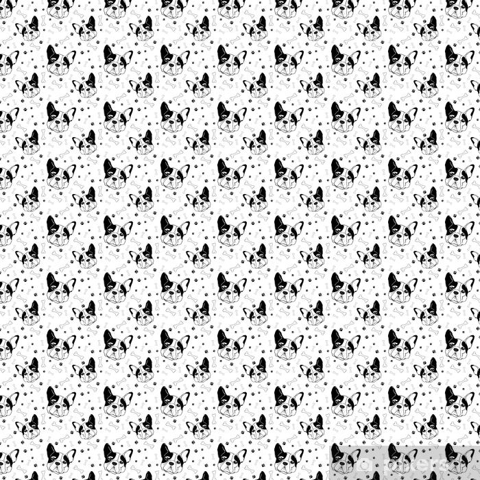 Calendrier Sans Annee.Papier Peint A Motifs Modele Sans Couture De Vecteur De Bulldog Francais Muselieres Des Os Et Des Empreintes De Chien Fond Noir Et Blanc Avec