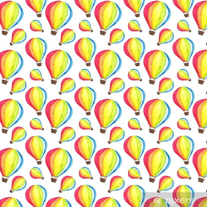 Watercolor rainbow hot air balloon seamless pattern. Background Wallpaper Self-adhesive custom-made wallpaper - Transport