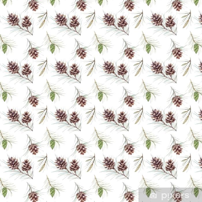 Tapeta na wymiar winylowa Akwarela jodła stożek wektor wzór - Rośliny i kwiaty