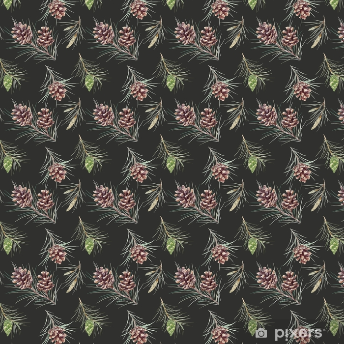Watercolor fir cone vector pattern Vinyl custom-made wallpaper - Plants and Flowers