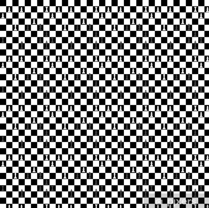 Papier peint vinyle sur mesure Échiquier sans soudure de fond chessmen loisirs concept chevalier groupe blanc et noir pièce compétition illustration vectorielle - Sports