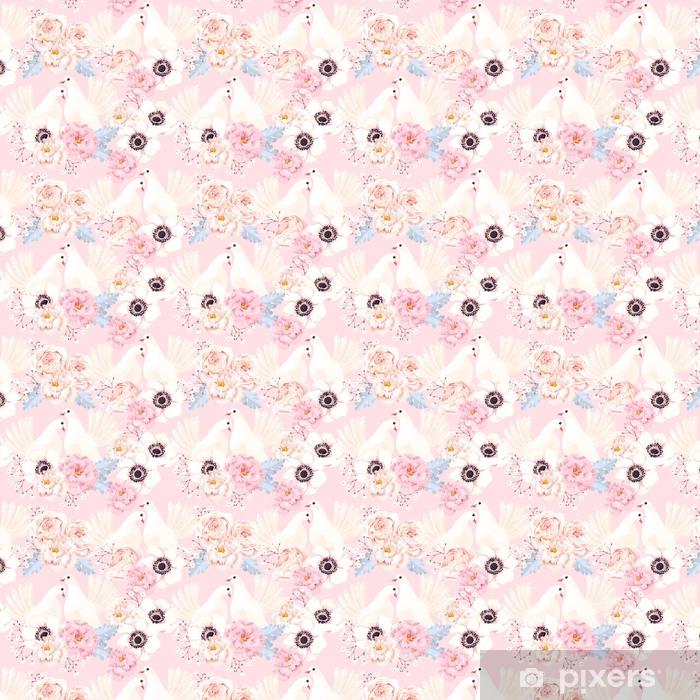 Tapeta na wymiar winylowa Wzór z kwiatów i gołębi - Rośliny i kwiaty