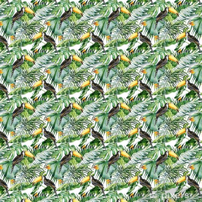 Zelfklevend behang, op maat gemaakt Naadloze waterverfillustratie van toekanvogel. Ramphastos. tropische bladeren, dichte jungle. strelitzia reginae bloem. hand geschilderd. patroon met tropisch zomermotief. kokosnoot palmbladeren. - Bloemen en Planten