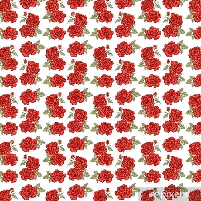Papel Pintado Patron Sin Costuras Con Flores Rosas Rojas Sobre Fondo Blanco Ilustracion Vectorial Para Telas A Medida