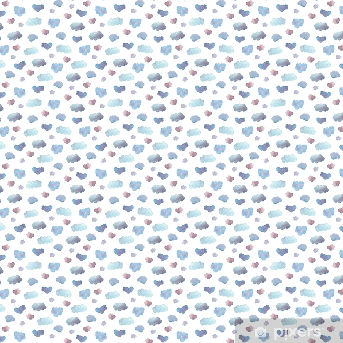 Papel pintado estándar a medida Sin patrón de suaves nubes azules pintadas en acuarela. - Recursos gráficos
