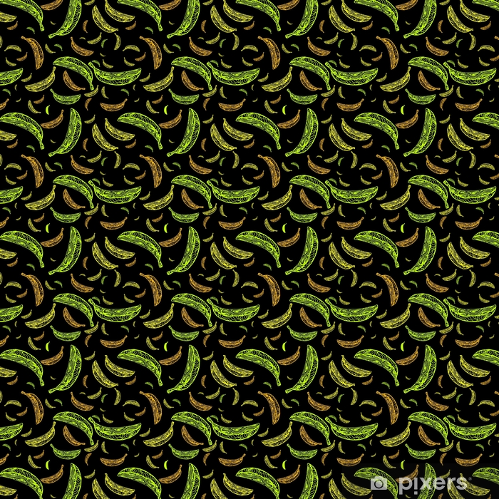 Seamless pattern with bananas on a black background. Vector illustration EPS and swatch for fabric or wrapping Vinyl custom-made wallpaper - Food