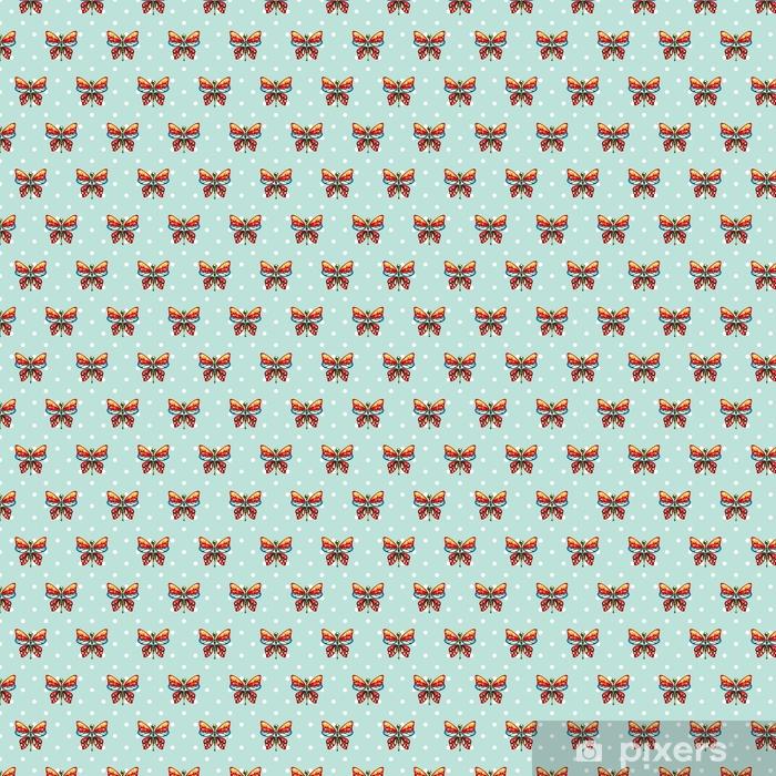 Baby Behang Jongen.Behang Vlinder Blauwe Polka Dot Baby Naadloze Vector Patroon Schattige Jongen Herhaal Achtergrond Voor Stof Textiel Mousseline Deken En Behang