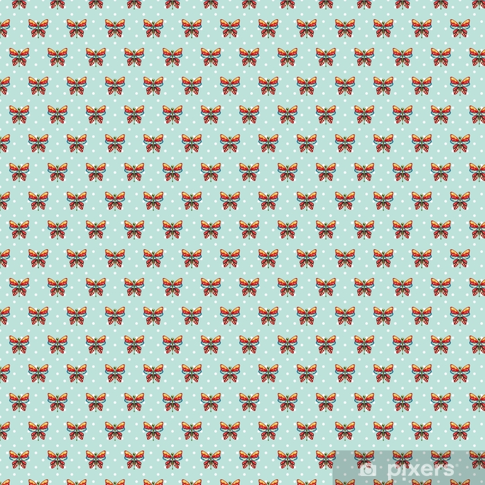 Butterfly blue polka dot baby seamless vector pattern. Cute kid repeat background for fabric textile, muslin blanket and wallpaper design. Vinyl custom-made wallpaper - Graphic Resources