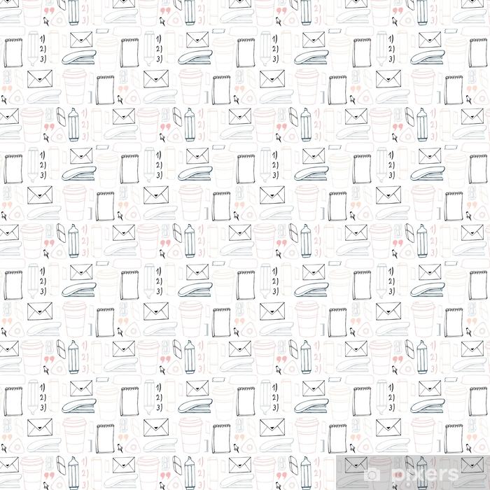 Vinyl behang, op maat gemaakt Vector naadloze briefpapier patroon. hand getrokken achtergrond. doodle stijlvol kantoor patroon. - Grafische Bronnen