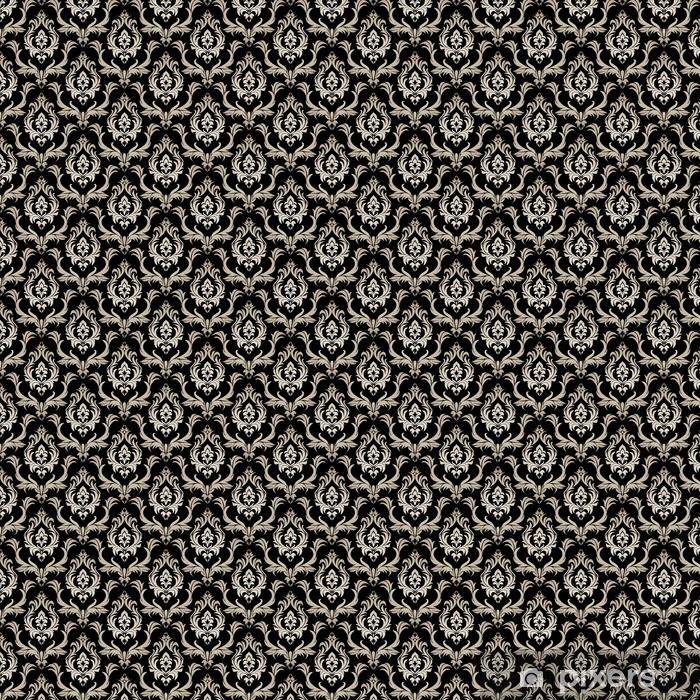 Bez szwu tapety retro adamaszku - srebrny kwiatowy ornament na czarno.