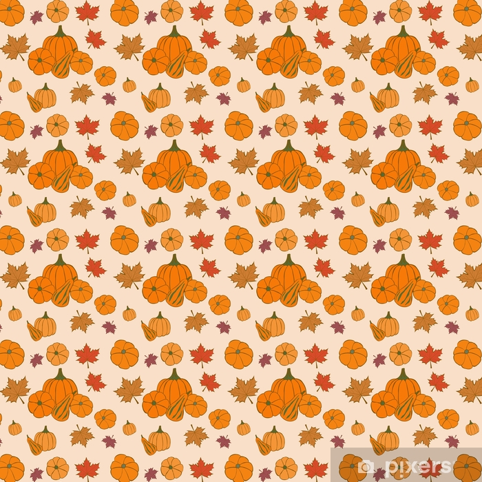 Autumn Seamless Pattern With Pumpkin And Maple Leaves Thanksgiving Wallpaper Vinyl Custom Made