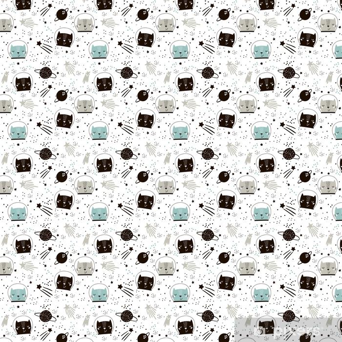 Carta da parati in vinile su misura Seamless pattern infantile con gli astronauti gatti carino. sfondo vivaio creativo. perfetto per i bambini design, tessuto, involucro, carta da parati, tessile, abbigliamento - Risorse Grafiche