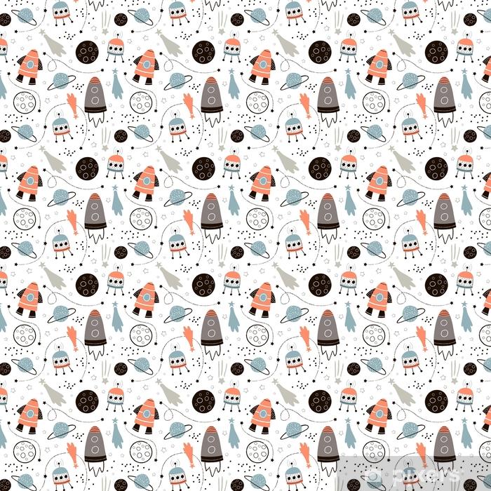 Tapeta na wymiar winylowa Dziecinna szwu z ręcznie rysowane elementy przestrzeni kosmicznej, rakiety, gwiazdy, planety, sondy kosmicznej. modne dzieciaki tło wektor. - Zasoby graficzne