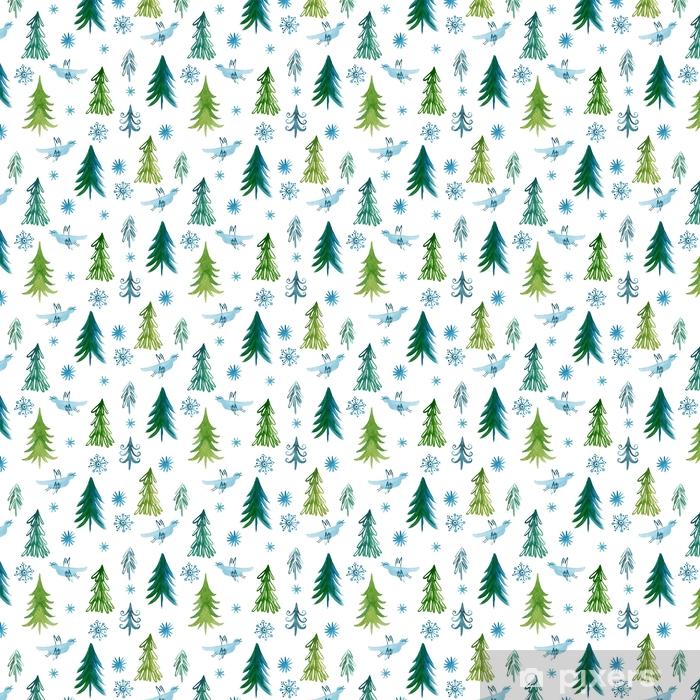 Papier peint à motifs vinyle Arbres de Noël, modèle sans couture -