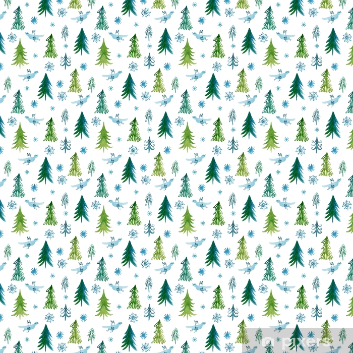 Måttanpassad vinyltapet Julgranar, sömlöst mönster -