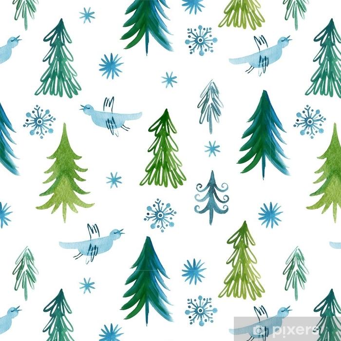 Christmas trees, seamless pattern Vinyl Wallpaper -