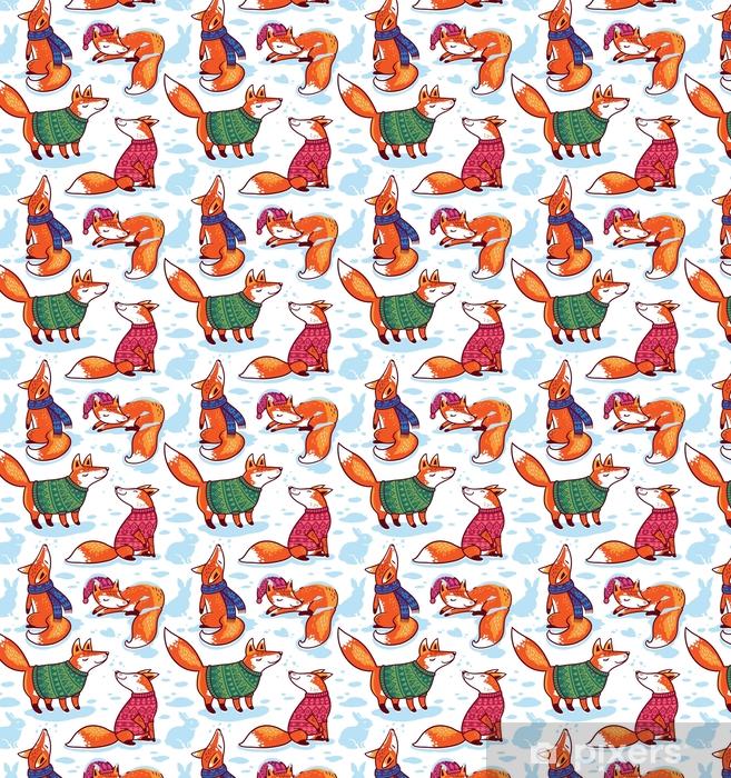 Tapeta na wymiar winylowa Śnieżny wzór z kreskówki lisy w przytulne swetry. - Zasoby graficzne