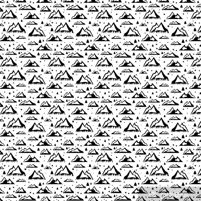 Papel De Parede Ilustração Vetorial De Viagem Com Padrão Sem Costura De Desenho Animado Estilo Doodle Preto E Branco Ilustração Com Picos Da